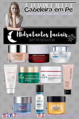 Hidratantes faciais para a noite das marcas Clinique, Korres, Avon, Natura, Eucerin, Nuxe, Mary Kay e The Body Shop