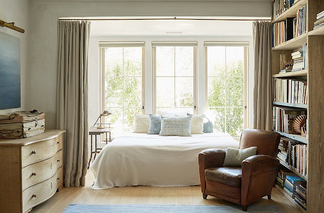 Timeless and tranquil bedroom modern farmhouse neutral European antique style Patina Farm Giannetti Home