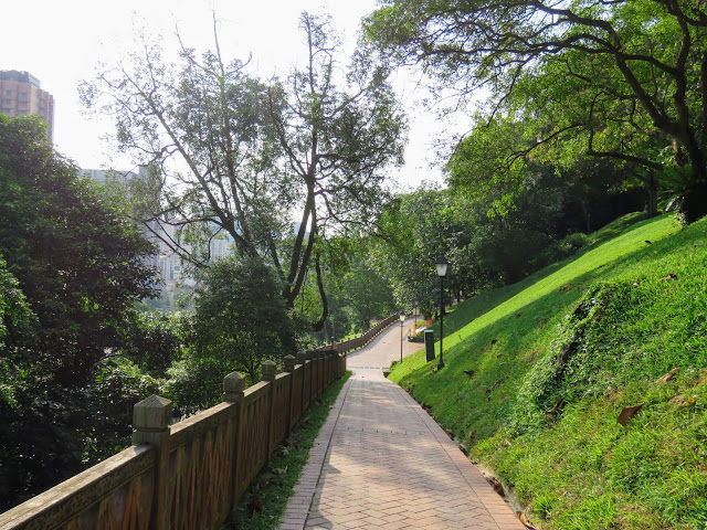 Walking path in Fort Canning Park in Singapore