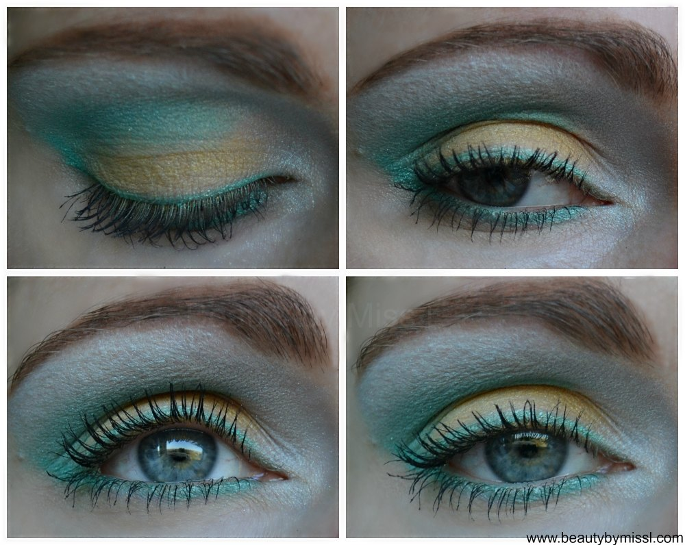 yellow & mint green eye makeup for spring