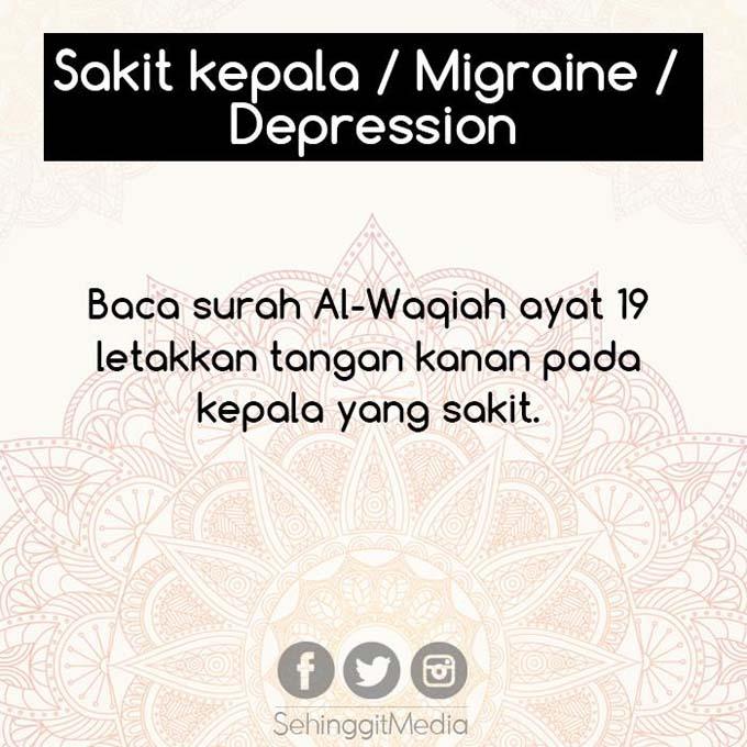 Petua Al Quran Sembuhkan Sakit Kepala, Migrain