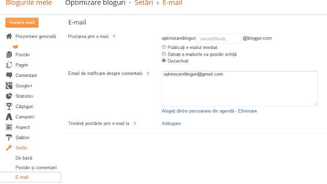Cum sa primesti e-mail de notificare de comentarii in Blogger