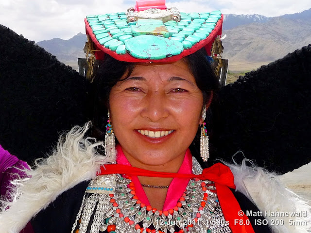 people, portrait, street portrait, Northern India, Ladakh, Ladakhi woman, traditional costume, perak, semi-precious stones, turquoise, Facing the World, © Matt Hahnewald