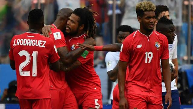 Selebrasi para pemain Panama usai cetak gol ke gawang Inggris di Piala Dunia 2018