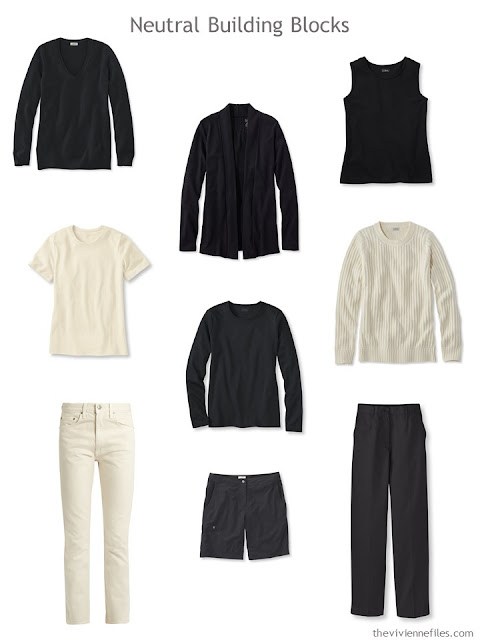9 wardrobe Neutral Building Blocks in black and ivory