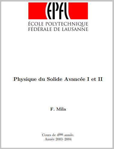 Cours : Physique du solide avancée - F. Mila -PDF