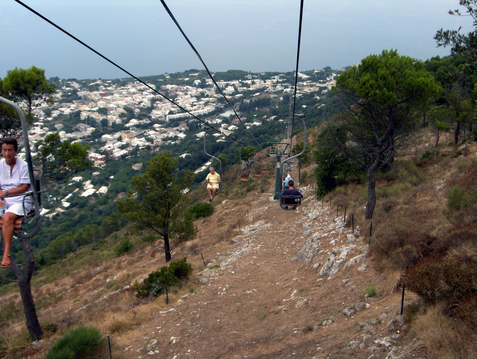 cable car, chair lift, Capri, italy, caprese, getting to capri from Sorrento, from Naples, travel, sea stacks, view,