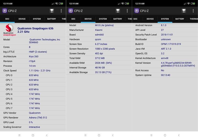 Xiaomi Mi 8 Lite CPU-Z Info