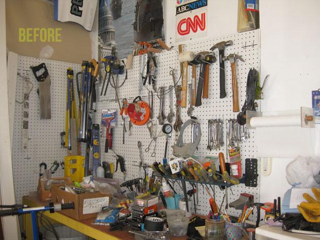 tools disorganized on garage pegboard