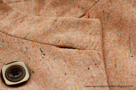 Kwik Sew 3531 asymmetrical jacket in peach tweed wool www.loweryourpresserfoot.blogspot.com