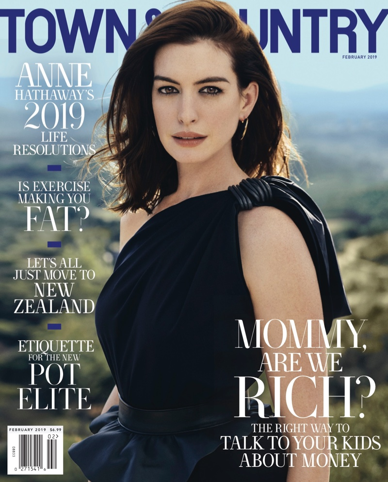 Actress Anne Hathaway on Town & Country Magazine February 2019 Cover