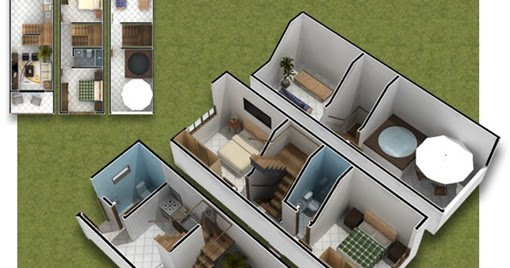 3D PLANS OF SMALL HOUSE 35m2 : HOME