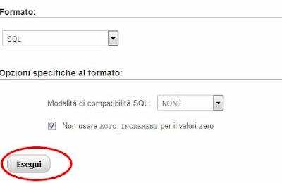 Importare un database mysql con phpMyAdmin esegui