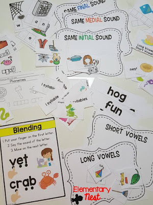 Phonological Awareness- ELA Activities for first grade students working with syllables, vowels, phonemes, decoding, and isolating sounds. Common Core aligned hands-on work for Foundational skills (RF1.2)