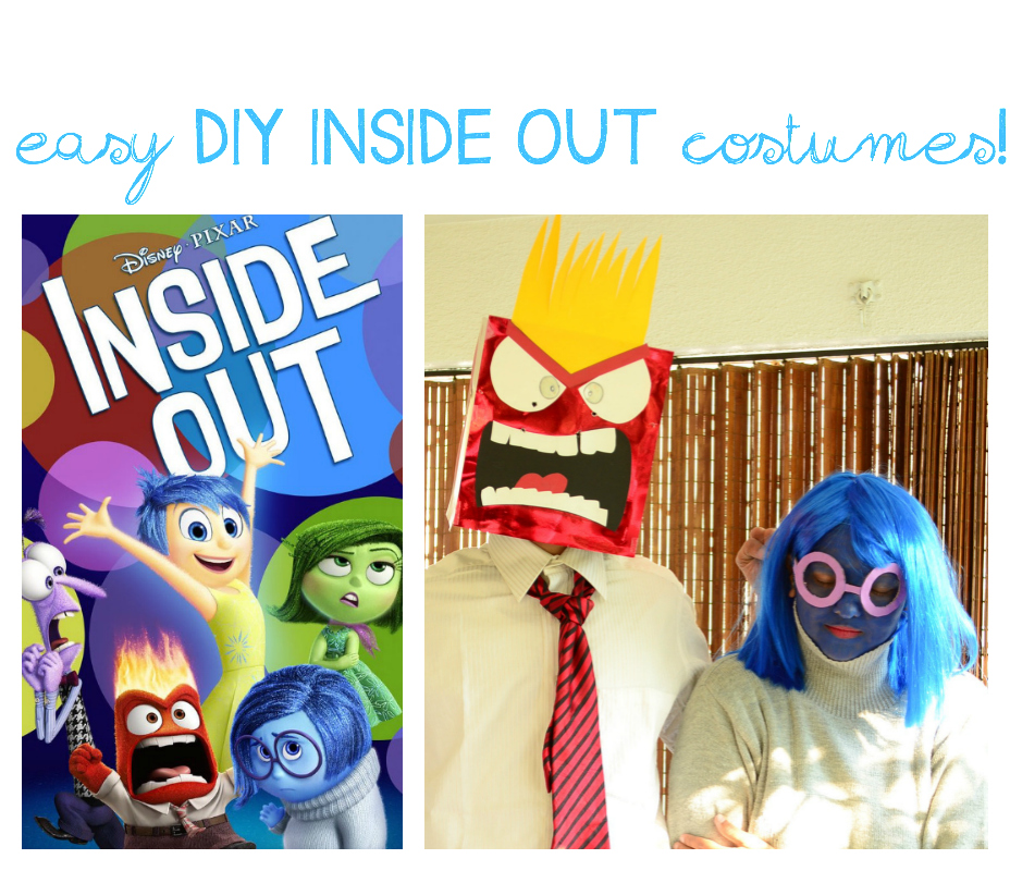 Practical Mom: Easy DIY INSIDE OUT costumes for Halloween: Anger & Sadness
