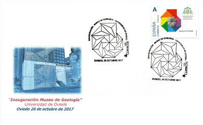 Sobre con matasellos y sello personalizado del Museo de Geología