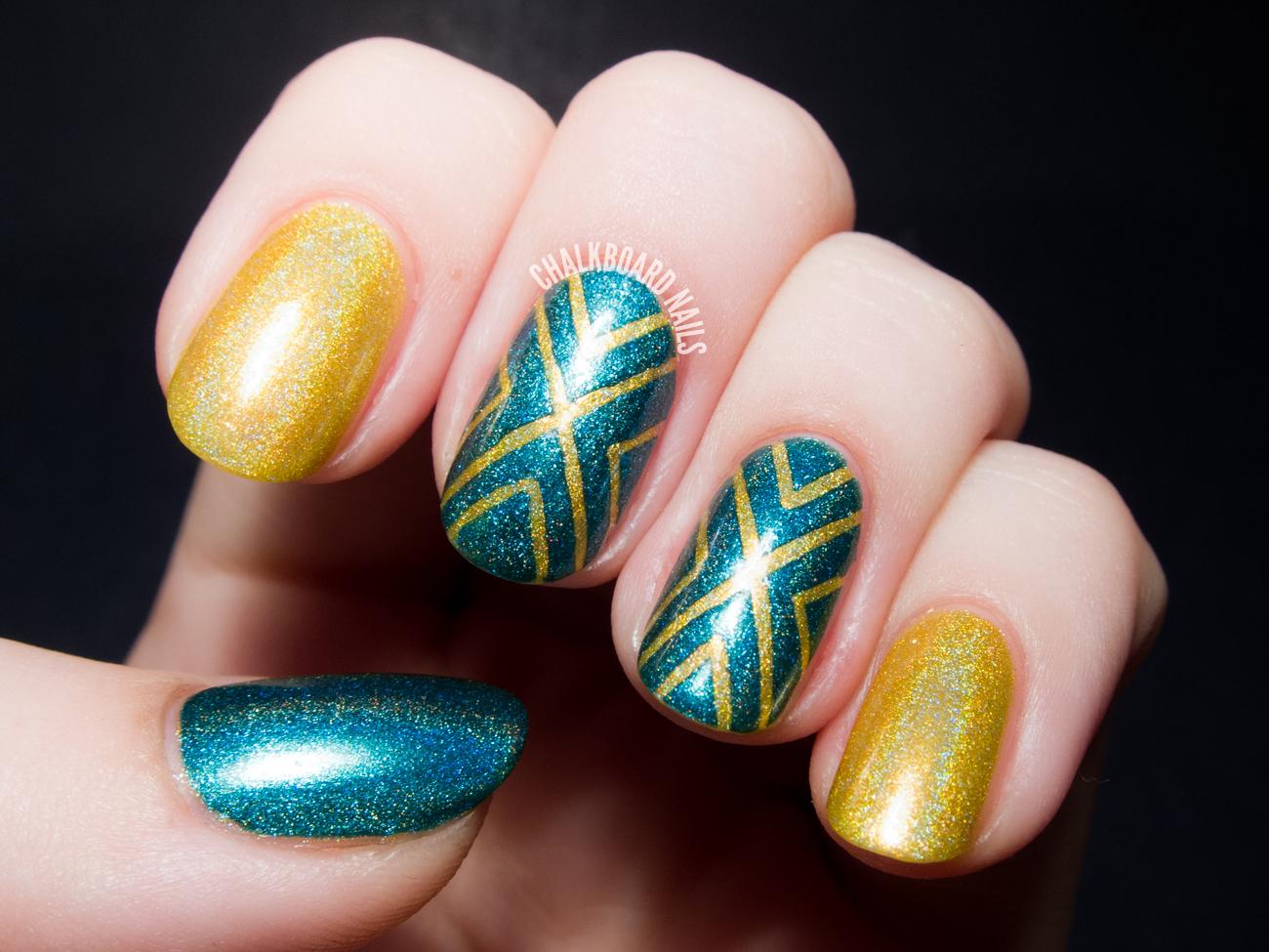 Converging Chevrons A Holographic Tape Manicure Chalkboard Nails Phoenix Arizona Nail Artist