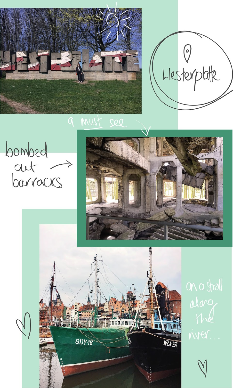 collage of photos from westerplatte with illustrations by uk based travel blogger allie