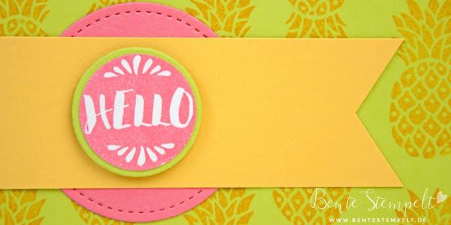 Stampin' Up! Neon Pop of Paradise Ananas Pineapple Framelits Stickmuster Limette Flamingorosa Osterglocke Gelb Pink Grün