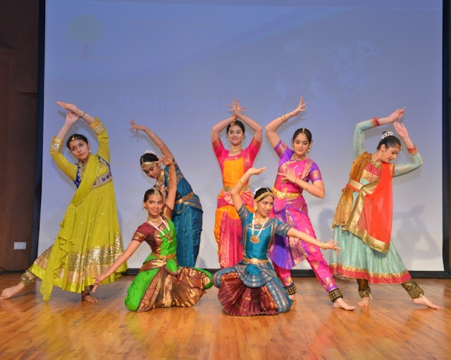 Students of Vasant Valley School performing classical dance