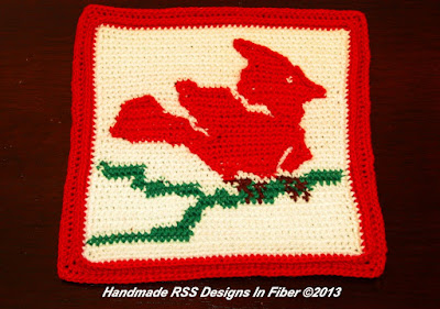 Red Cardinal Crochet Tapestry - Handmade Crochet By Ruth Sandra Sperling - RSS Designs In Fiber