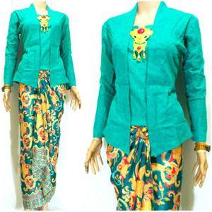 Baju Kebaya Wisuda Kutubaru Hijau Tosca Kombinasi Batik Model Baru