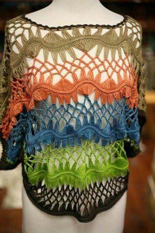 Patrón #1885:  Como tejer blusa de encaje a Crochet