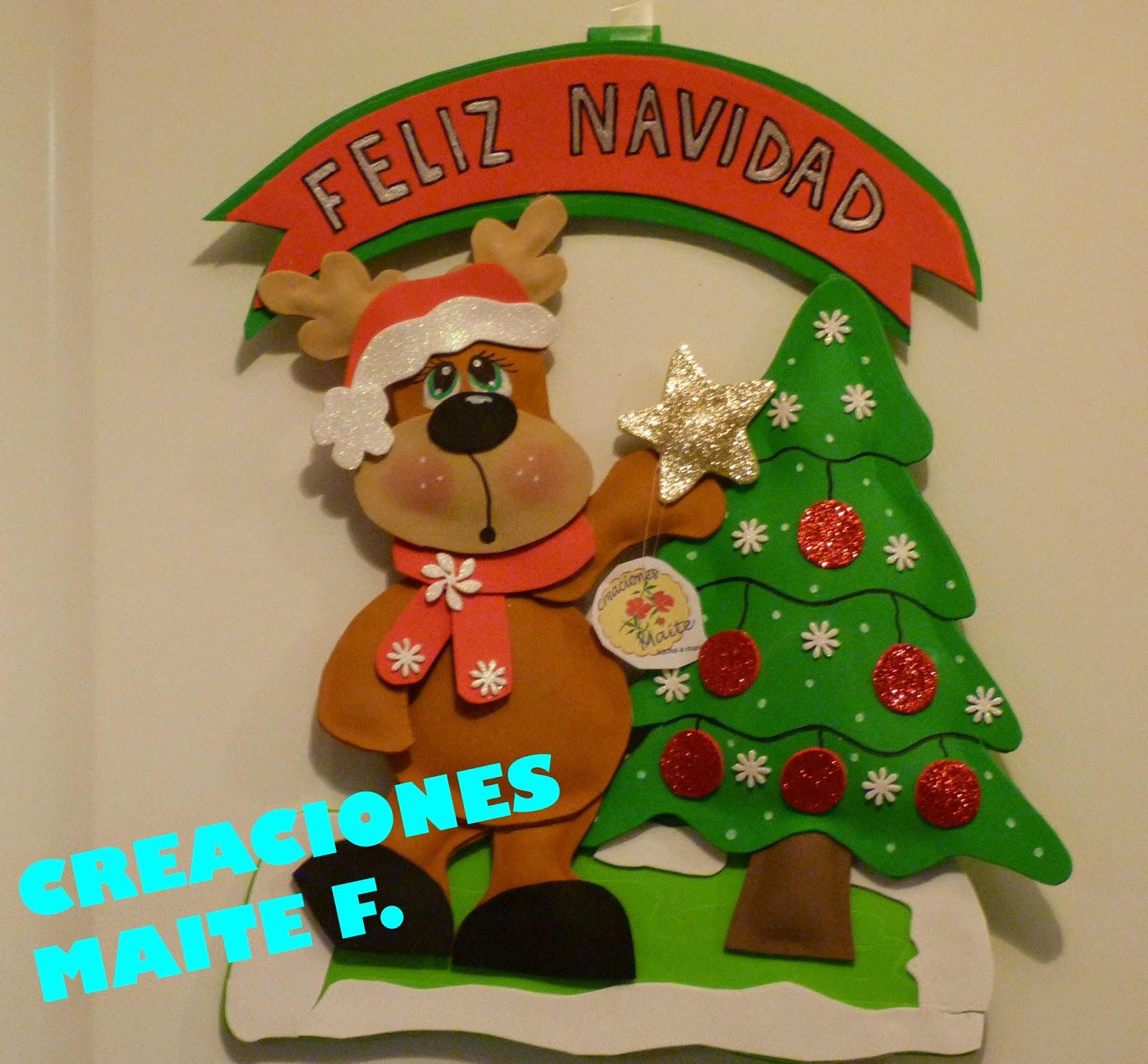 Fofuchas manualidades y creaciones maite cartel navidad - Decoracion navidad goma eva ...