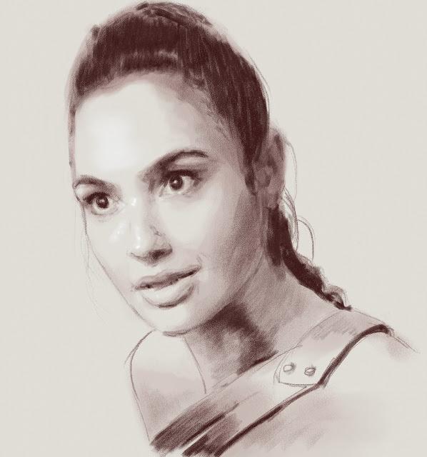 Портрет актрисы выполнен сепией (цифровой). Процесс доступен на видео выше