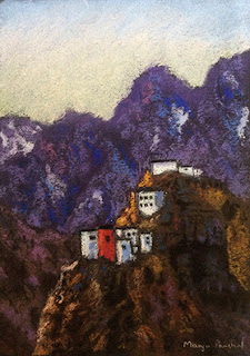 original soft pastel painting of Dhankar Monastery on Canson Mi Teintes paper, By Manju Panchal