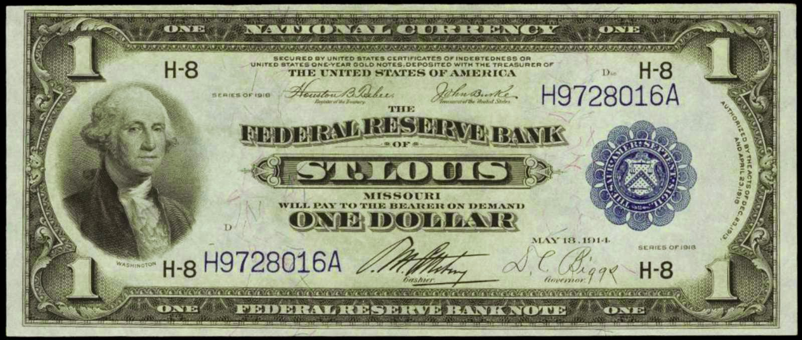 One Dollar Federal Reserve Bank Note 1918 St. Louis