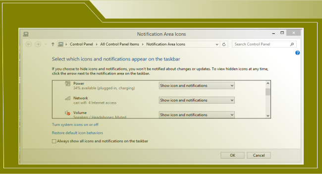 notification appear on the taskbar wins 8.1