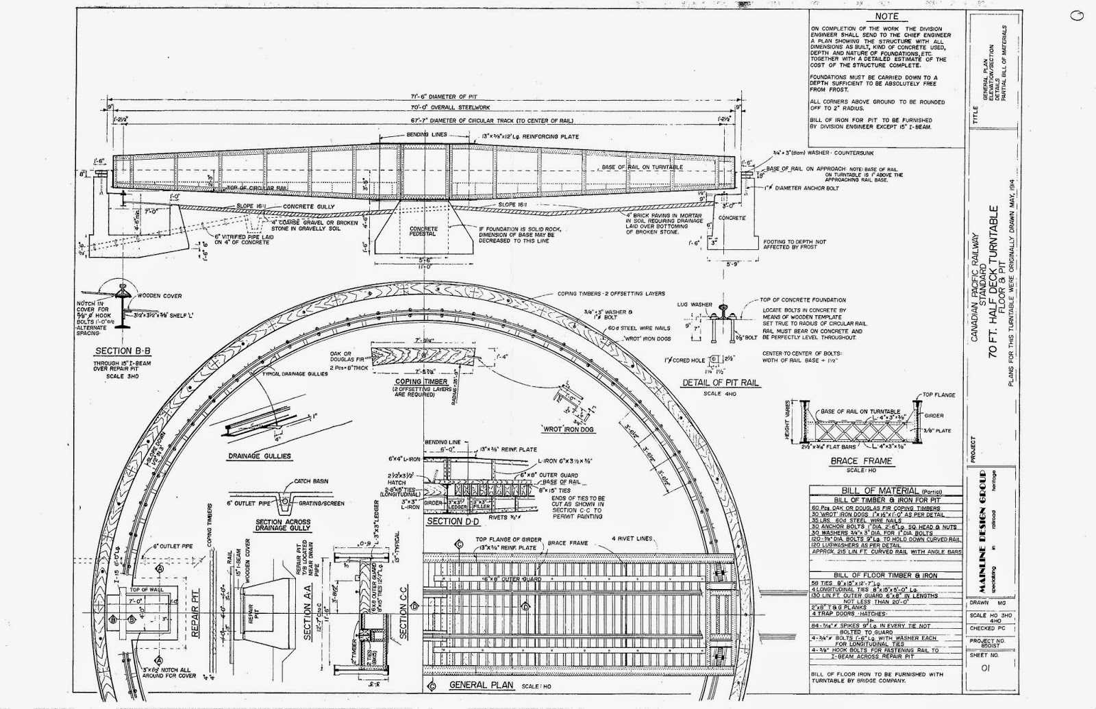 Kettle Valley Model Railway Cpr 70 Half Deck Turntable Wiring Diagram The Drawing Was Made By A Gentleman Initials Mg Who Published Various Other Drawings In 1985 I Bought Set When First Released And Have Not Heard