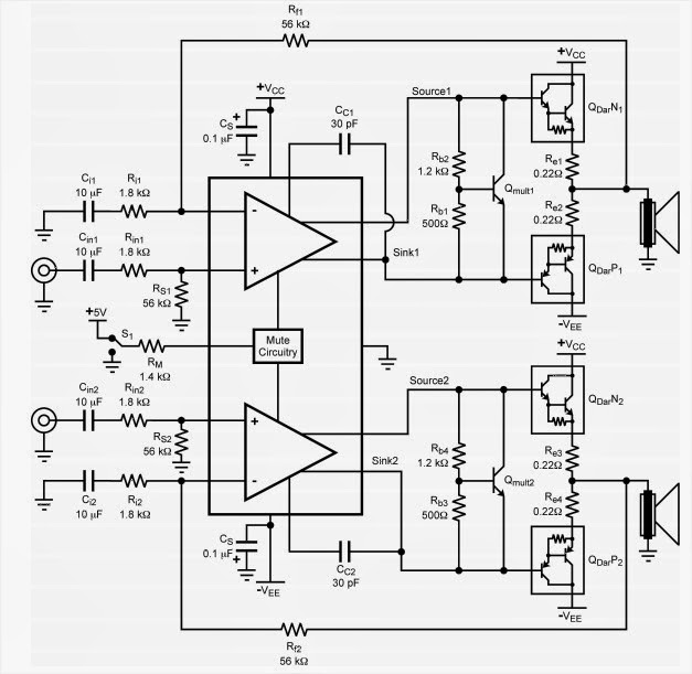 LM4702 Amplifier Circuit Diagram ~ AmplifierCircuits.com