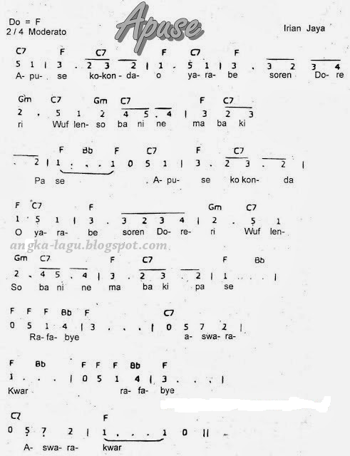 Not Angka Lagu Apuse : angka, apuse, Angka, Apuse, Daerah, Papua
