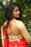 Akshara in Red Saree Golden Choli at LV Movie Makers Production No 1 Movie Opening ~  Exclusive 109.JPG