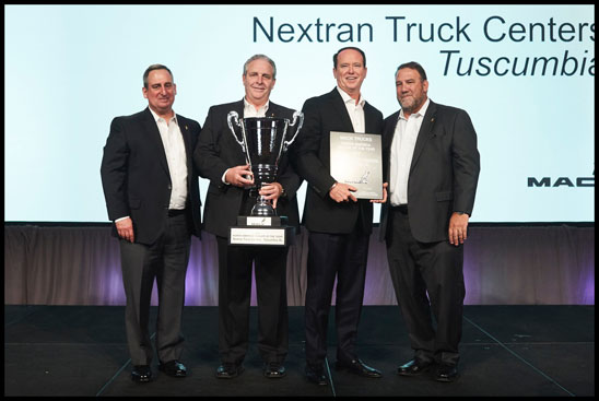 Nextran Truck Center of Tuscumbia, Alabama is Mack Trucks' 2019 North American Dealer of the Year. Mack announced the winner during its annual dealer meeting, which brings together dealer leadership from the U.S. and Canada. From left to right: Martin Weissburg, president, Mack Trucks; Dennis McDaniel, regional vice president, Southeast, Mack Trucks; Jon Pritchett, president and CEO, Nextran; Jonathan Randall, senior vice president, North American sales and marketing, Mack Trucks.