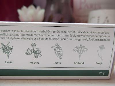 herbadent bylinková zubná pasta ingredients