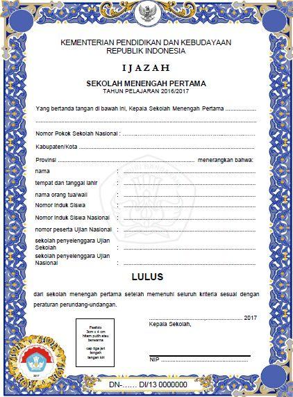 Download Contoh Format Blangko Ijazah Dan Shun Terbaru
