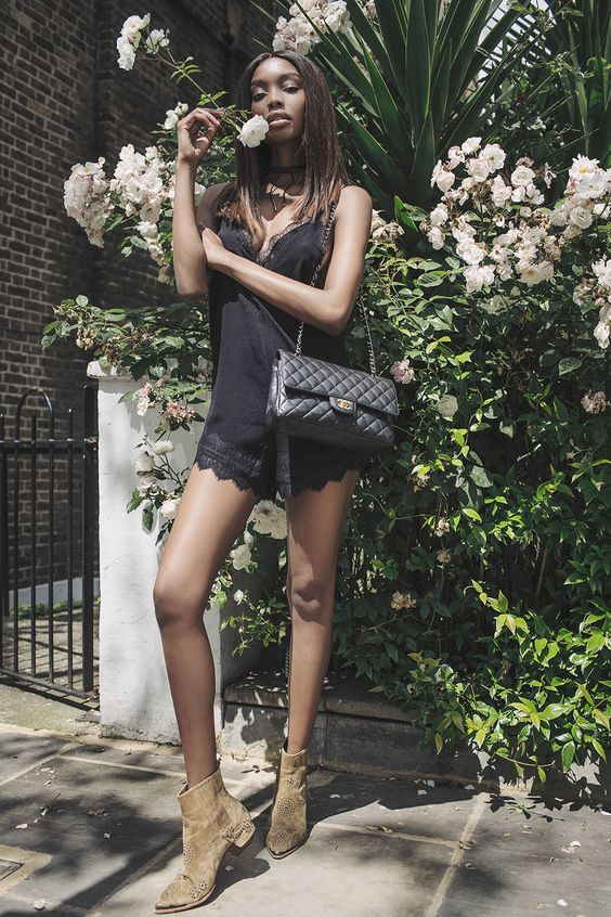 Bisous Natasha - Lace4 Trim Cami + Lace Trim Shorts - Chanel Bag + Suede Ankle Boots