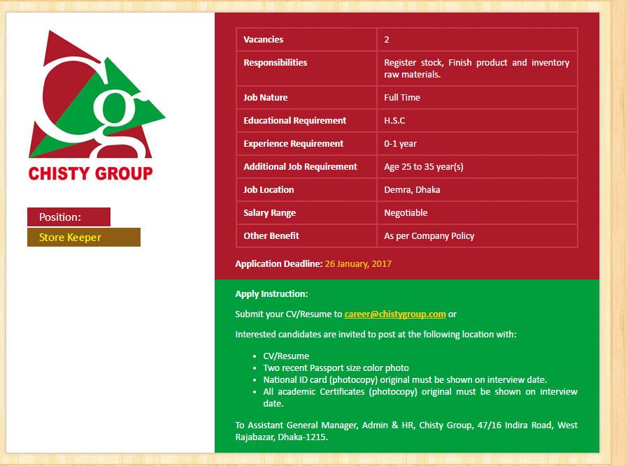 Application For Store Keeper Sasolo Annafora Co