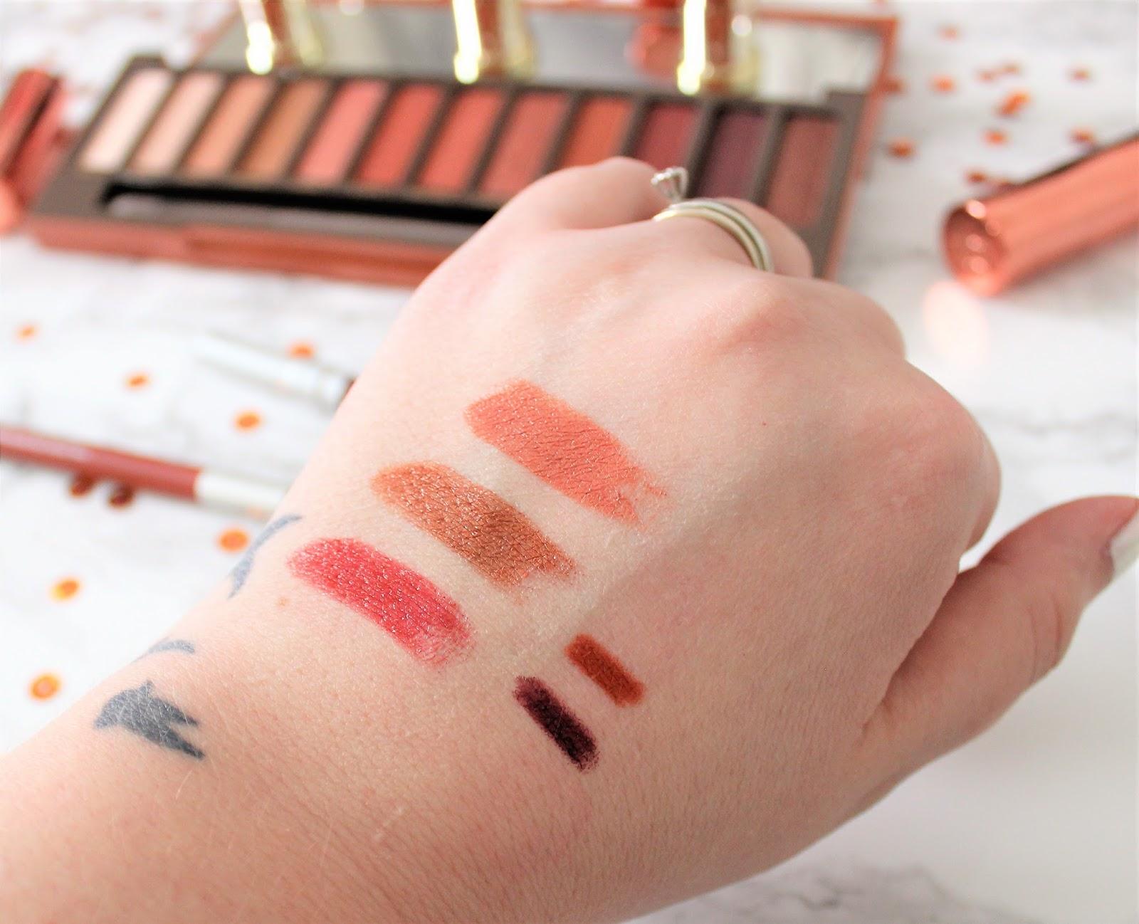 UD Naked Heat Lipstick Eyeliner Swatches
