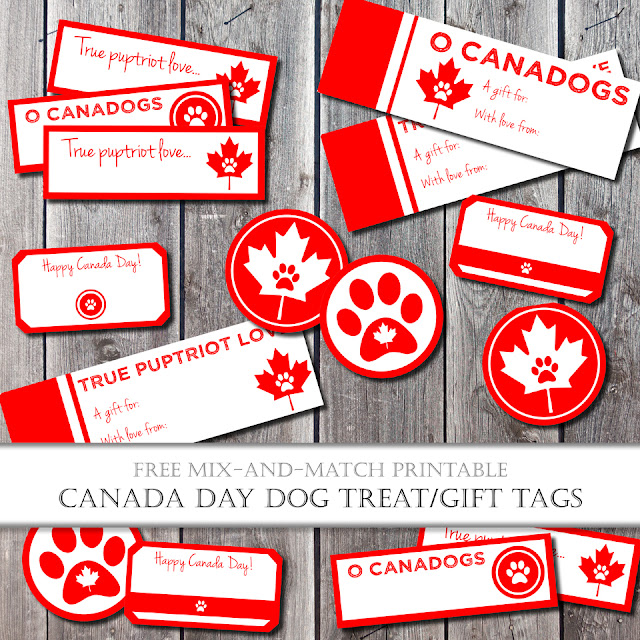 Canada Day dog treat tag and label printables