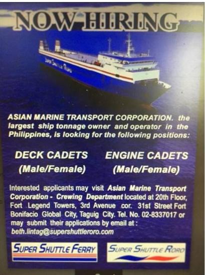 Hiring Male, Female Deck & Engine Cadets - Seaman jobs