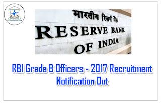RBI Grade B Officer 2017 Recruitment Notification Out: