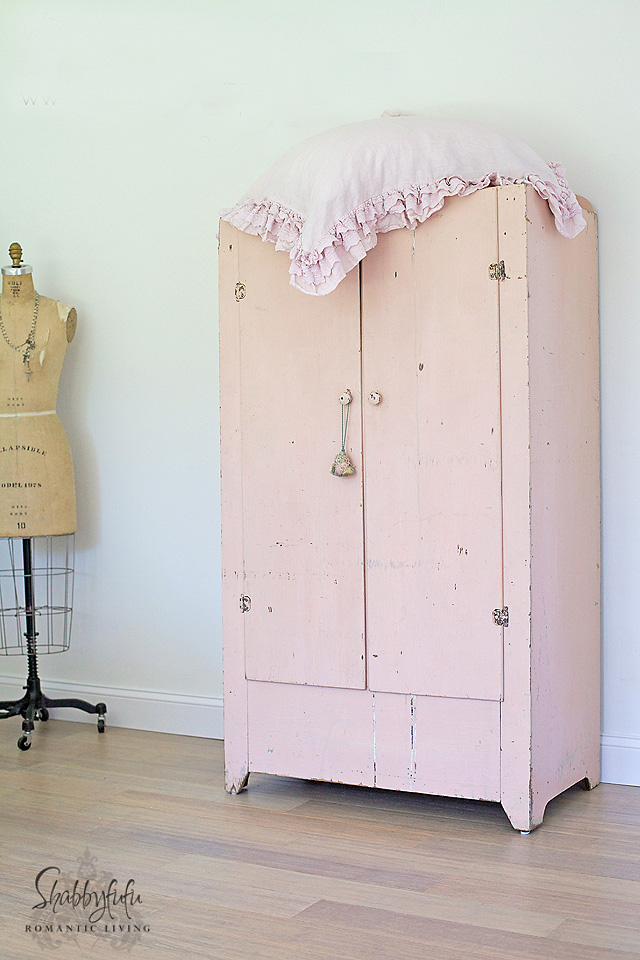 pink shabby chic cabinet