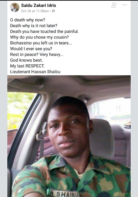 Photos of one of the eight soldiers killed by Boko Haram terrorists in Yobe State