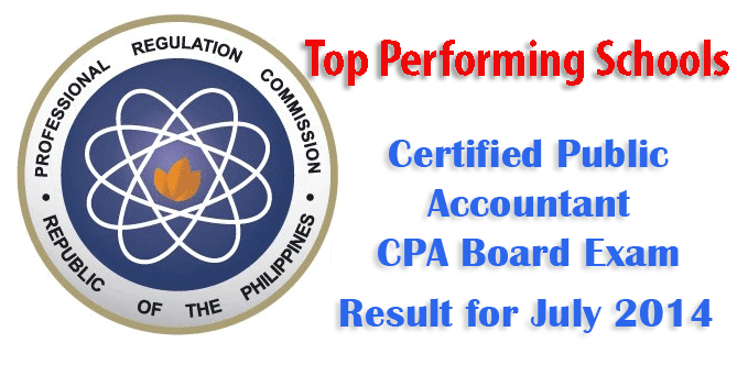 Top Performing Schools for Certified Public Accountant (CPA) Board Exam Result for July 2014