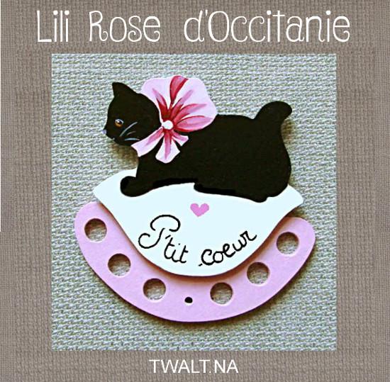 """Tri-fils en bois peint """" chat noir et coussin blanc et rose"""" avec texte au choix. Broderie et point de croix"""