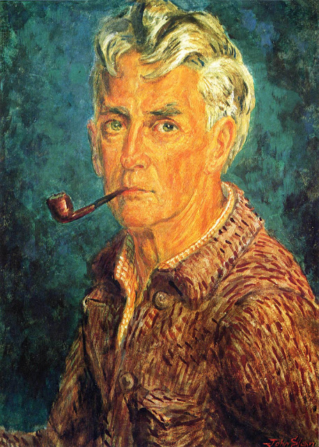 Self-Portrait (Pipe and Brown Jacket) tempera